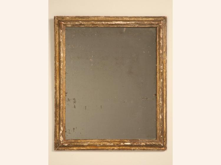 c.1800 Rustic Antique French Gilded Mirror