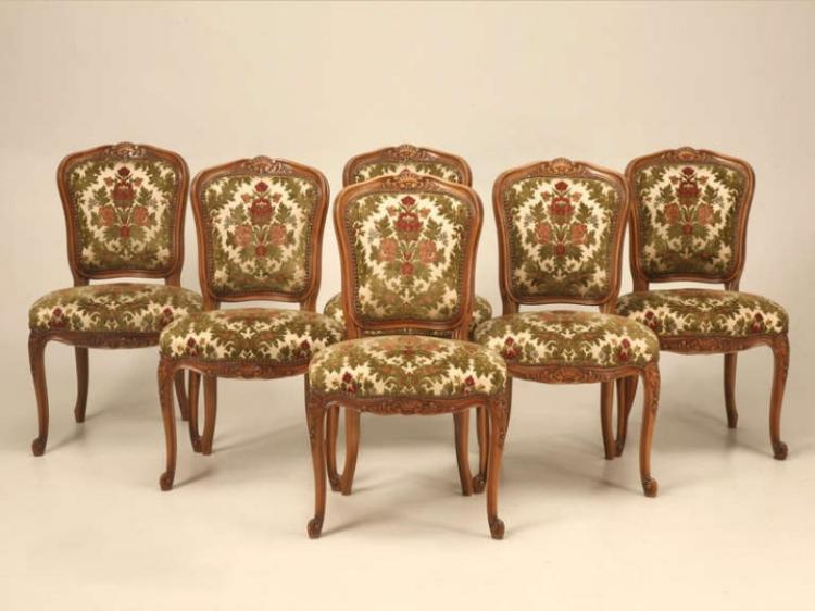 6 Vintage French Louis XV Cherrywood Side Chairs