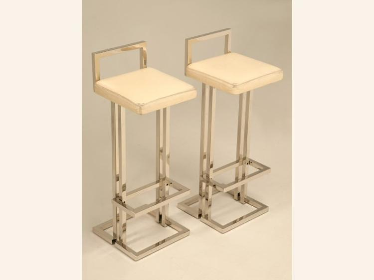 Romeo Rega Style Chrome & Leather Bar Stools