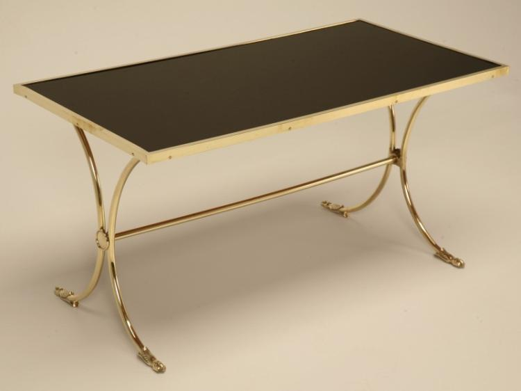 Vintage French Brass & Black Coffee Table
