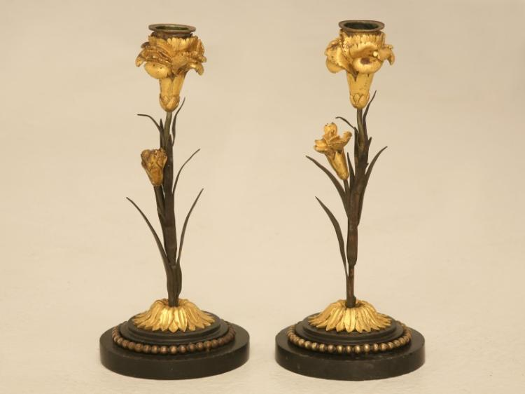 Pair of Antique French Dore Candlesticks