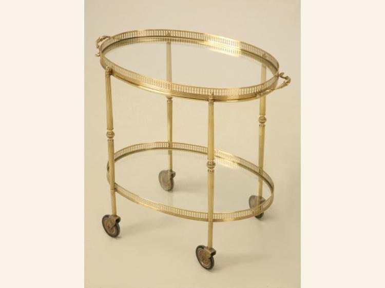 Vintage French Brass Oval Tea or Bar Cart