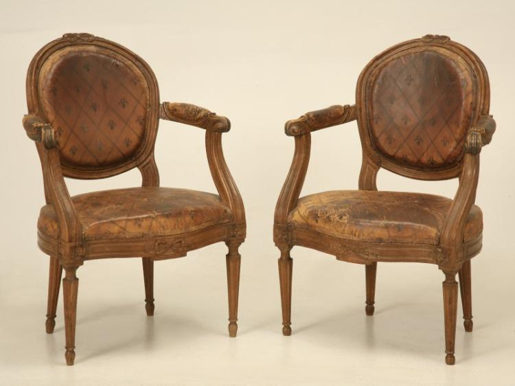 French Louis XVI Armchairs Original Leather