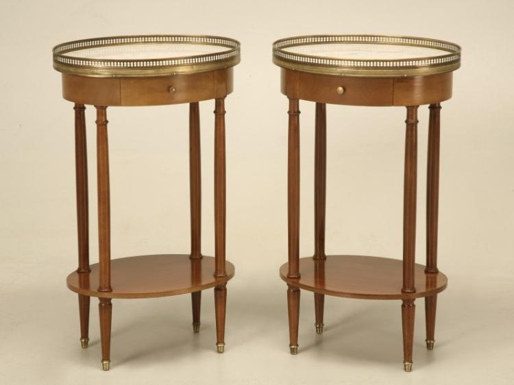 Louis XVI Style Nightstands with Marble Tops