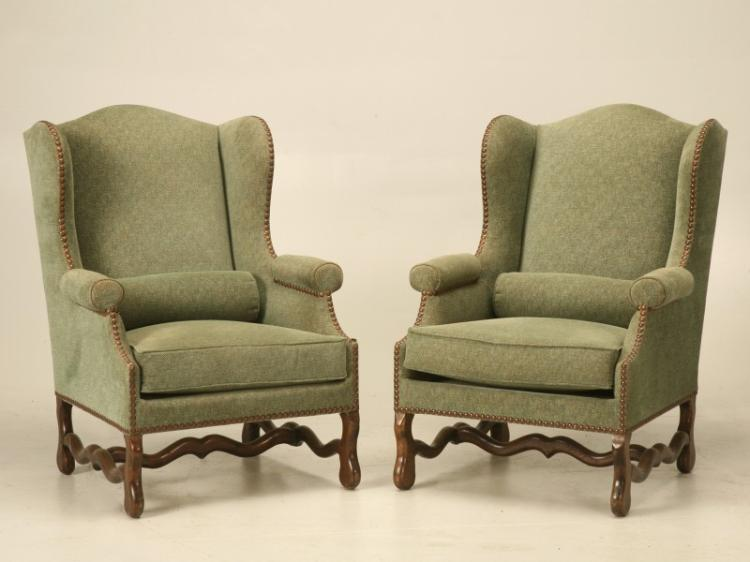 French Pair Os de Mouton Wingback Chairs