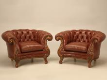 French Leather Chesterfields Armchairs