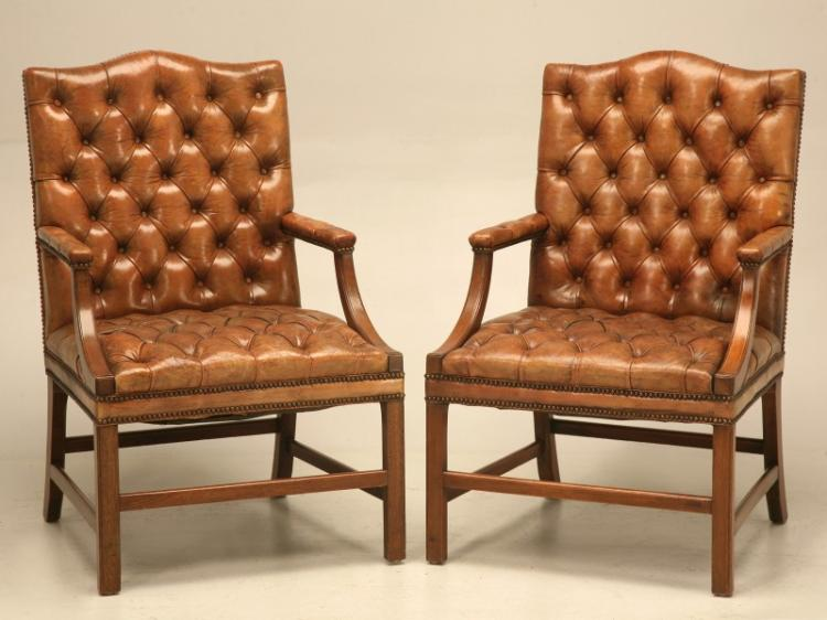 Pair of Tufted Leather Chesterfield Armchairs