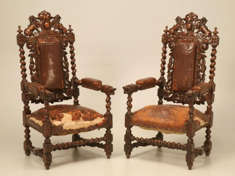 Pair of French Barley Twist Throne Chairs