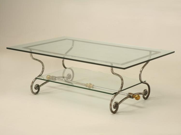 French Glass, Steel and Brass Coffee Table