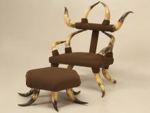 Child's Texas Antique Horn Chair with Ottoman