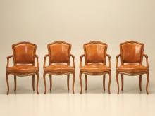 Set of 4 Louis XV Armchairs Original Leather