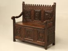 Antique Gothic Inspired Oak Bench