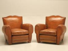 French Art Deco Moustache Back Leather Club Chairs