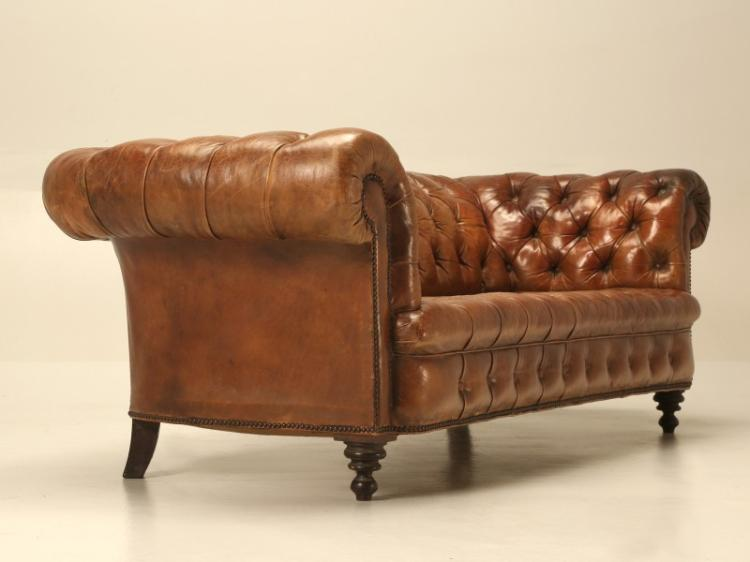 antique leather chesterfield sofa in original leather. Black Bedroom Furniture Sets. Home Design Ideas