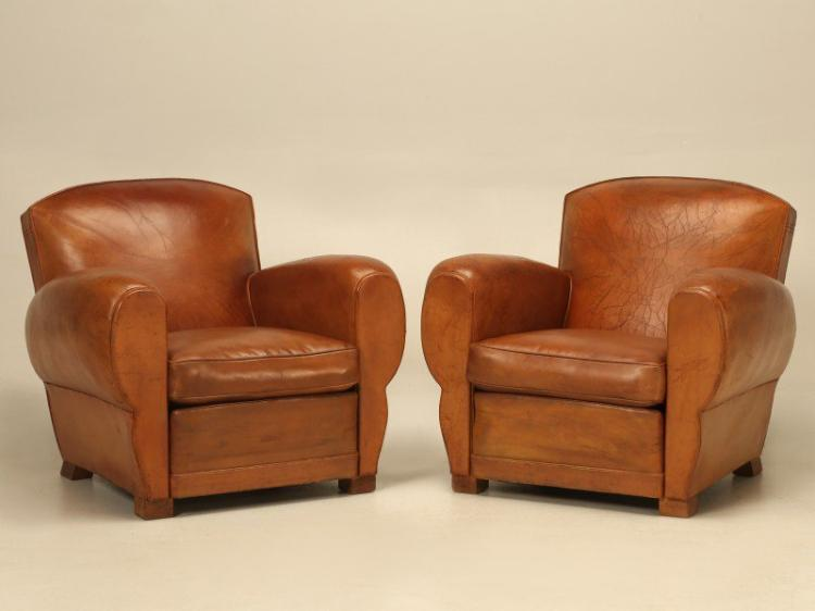 French Classic Art Deco Leather Club Chairs