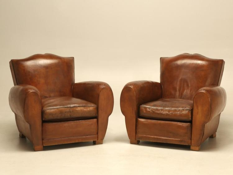 French Classic Moustache Leather Club Chairs