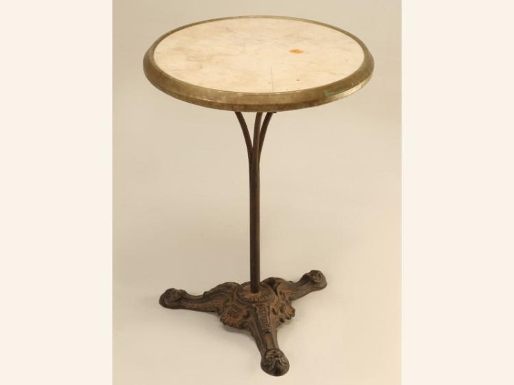 French Bistro Table in Cast Iron and Marble
