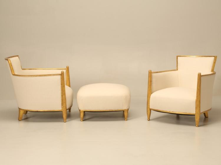 French c1940's Gilded Bergere Chairs with Ottoman