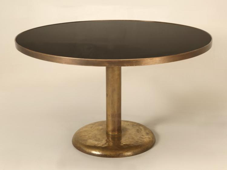 Brass and Black Glass Dining Table