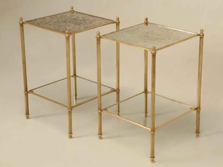 French 2-Tier Pair of Bronze End Tables