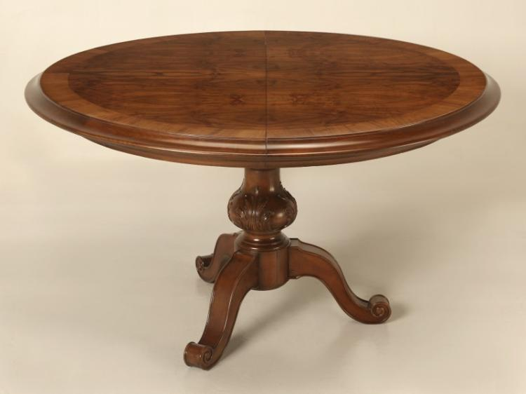 French Burl-Walnut Round Dining Table w/ Leaf