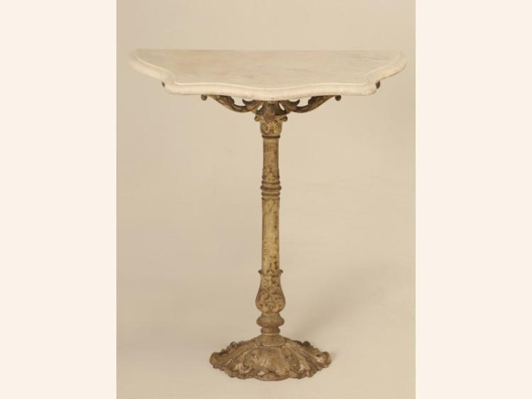 French Petite Marble and Cast Iron Console Table