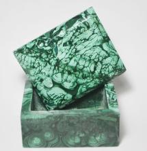 African Art-Malachite Jewelry Box