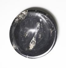 Small Black Marble Fossiliferous Bowl.    ZZ-841