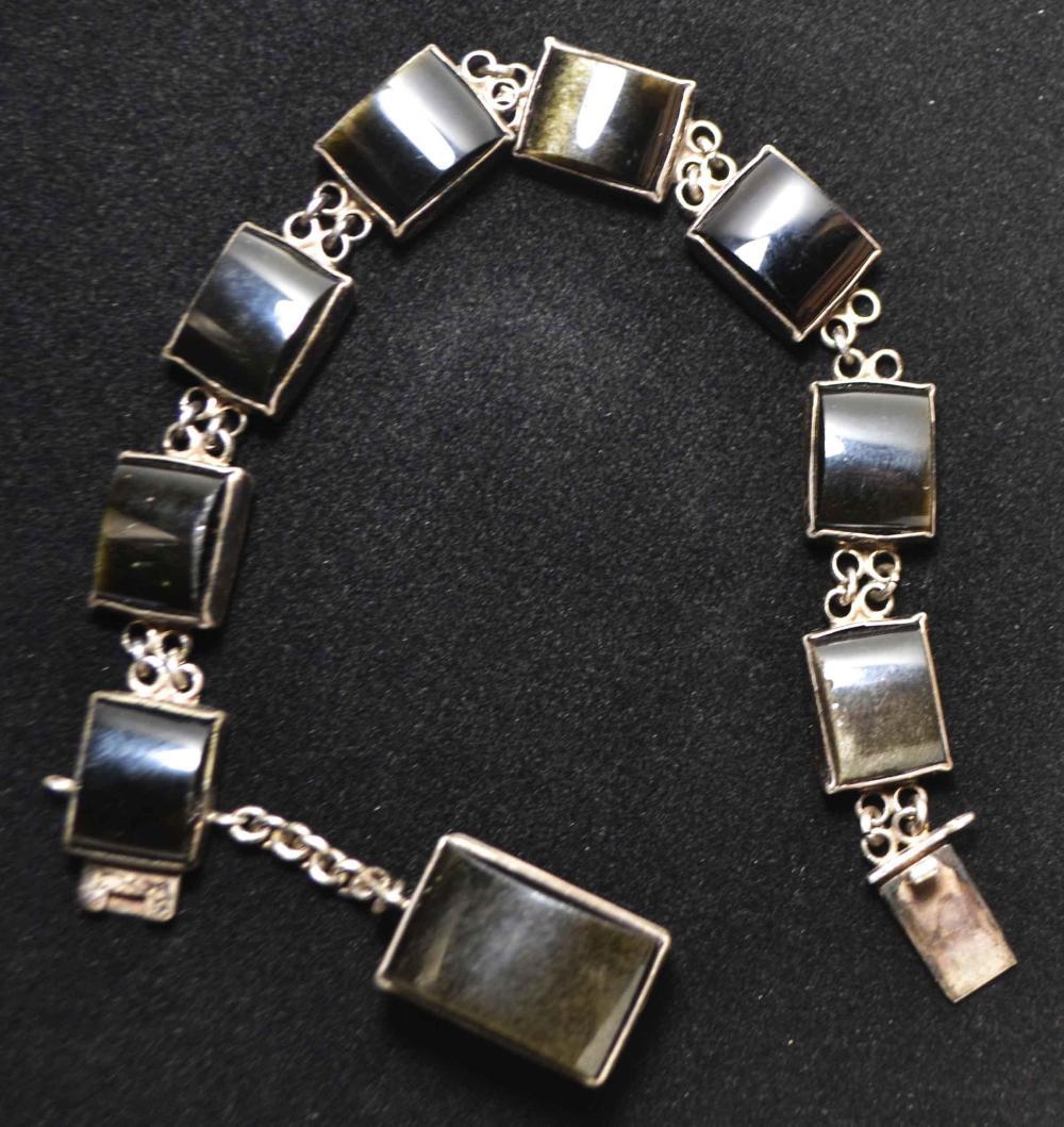 7in. Obsidian and Sterling Bracelet