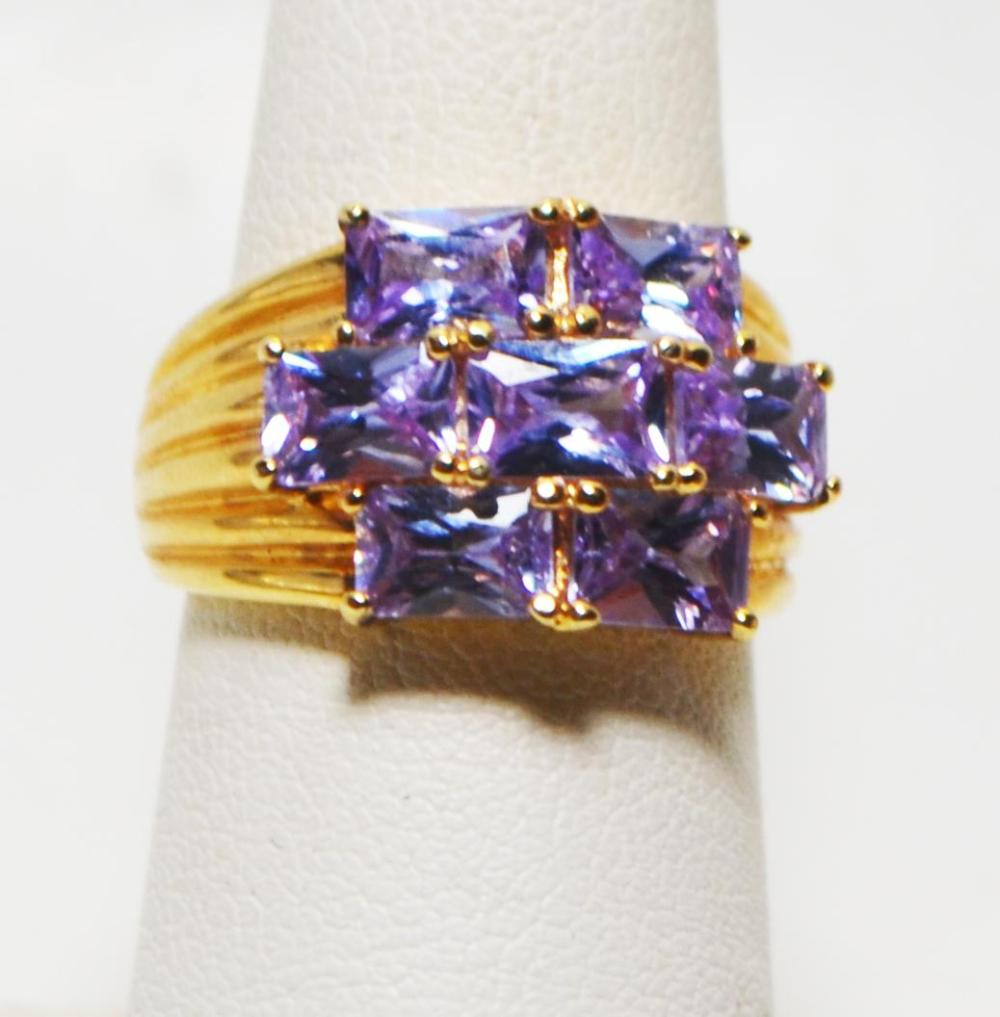 Size 7 Gold Plated CZ and Sterling Silver Ring
