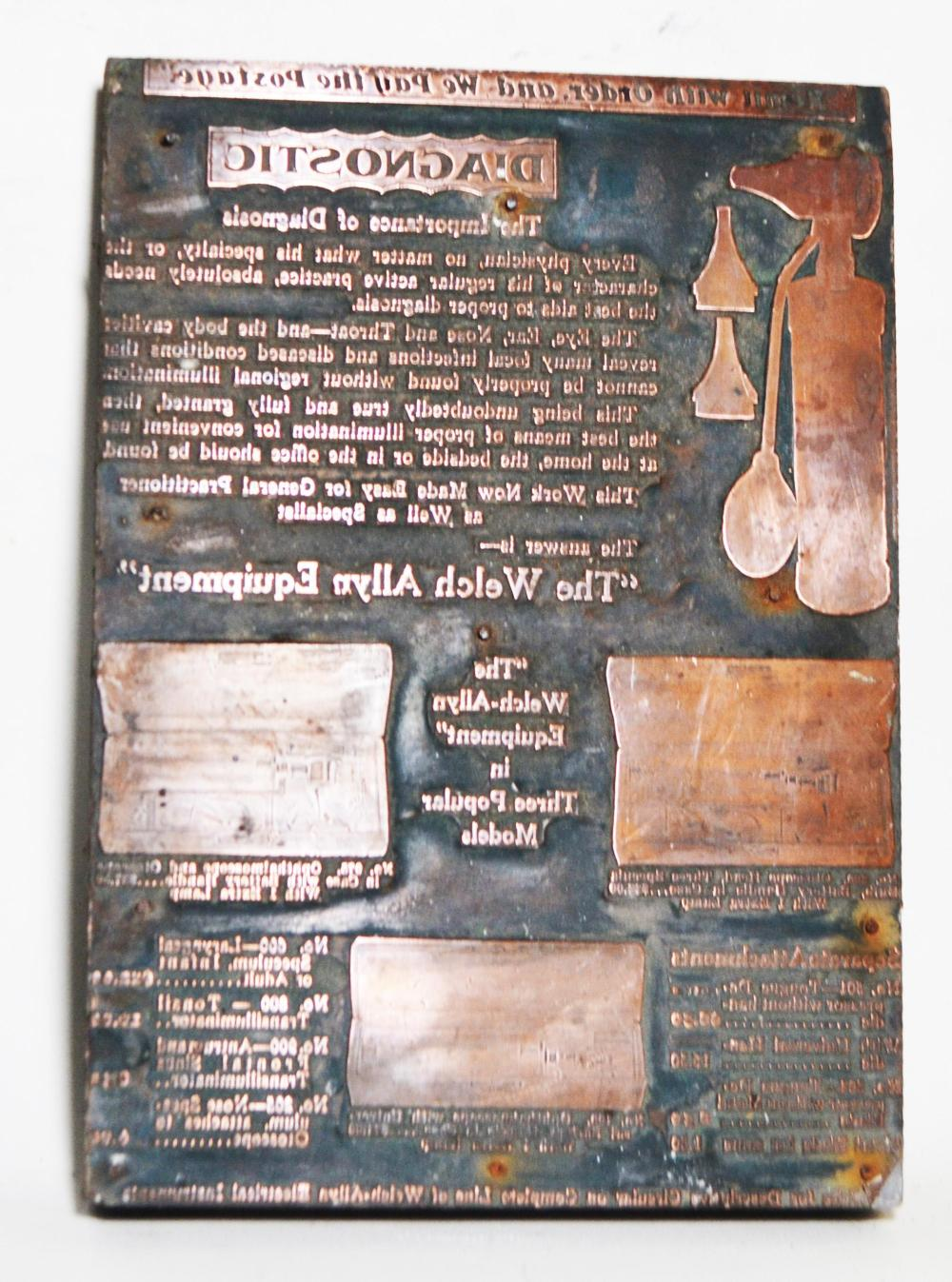 Antique Medical Printing Plate