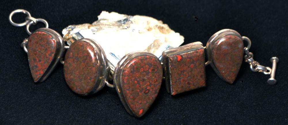 8in. Custom Bloodstone&Sterling Silver Bracelet