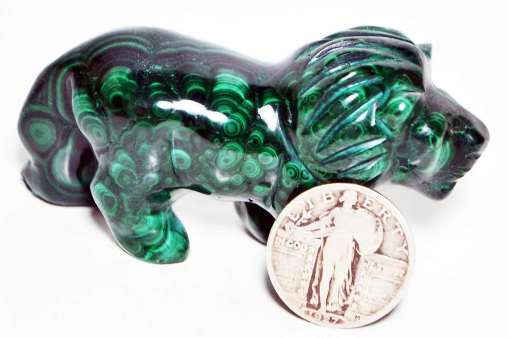 Malachite Figurine-Lion