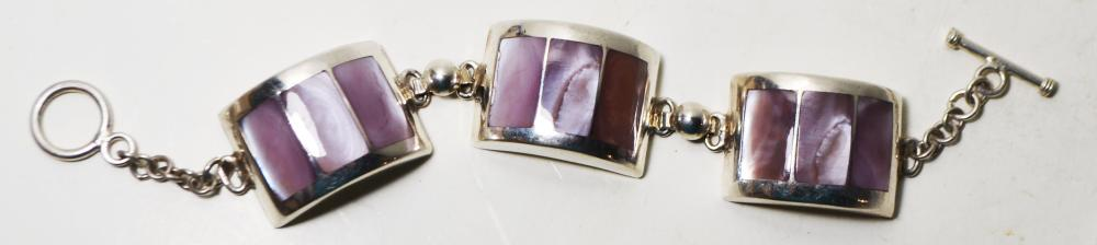 7in. Mother of Pearl and Sterling Silver Bracelet
