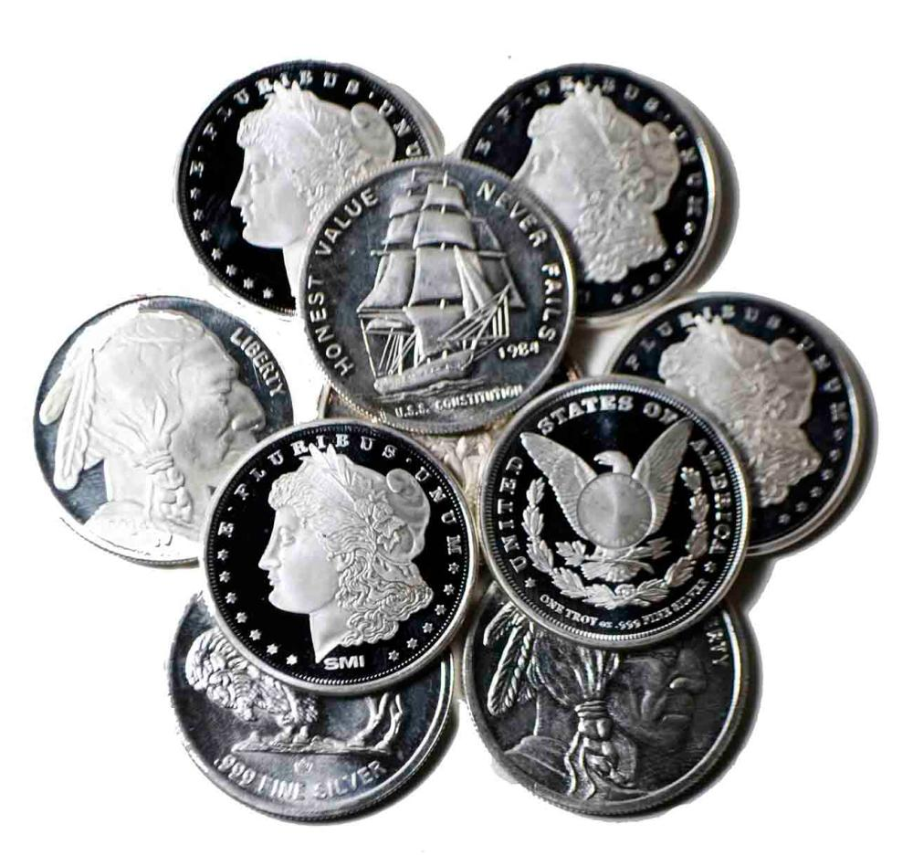 10-Silver Rounds1oz.999