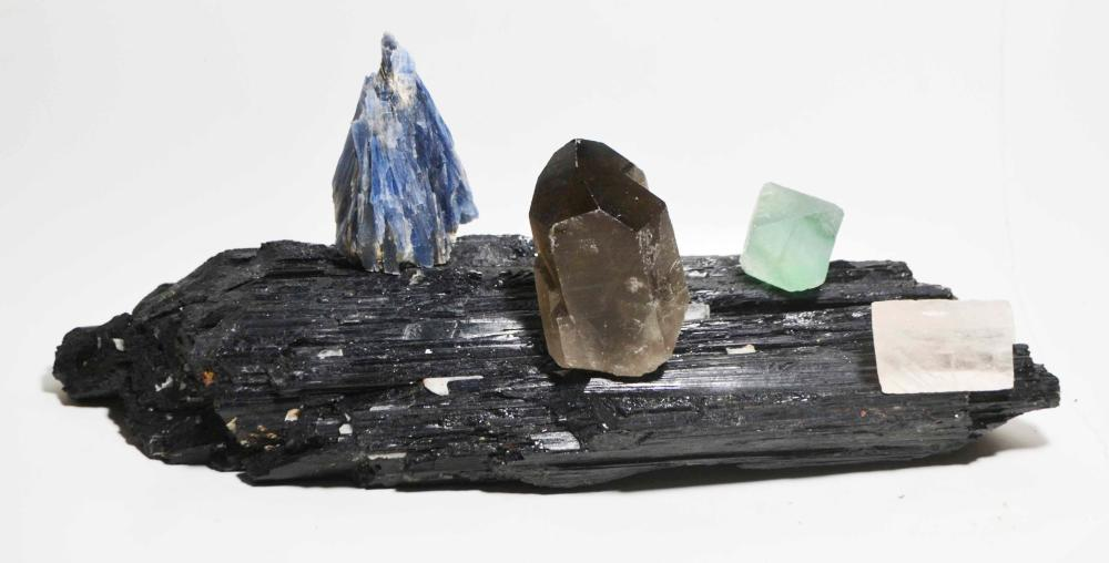 Base Cut Tourmaline Crystal and Mineral Display