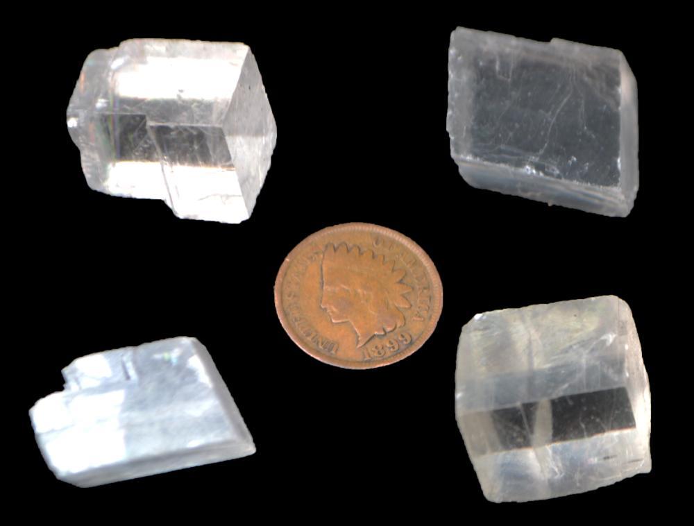 4-Iceland Spar/Viking Sunstone Crystals-Calcite