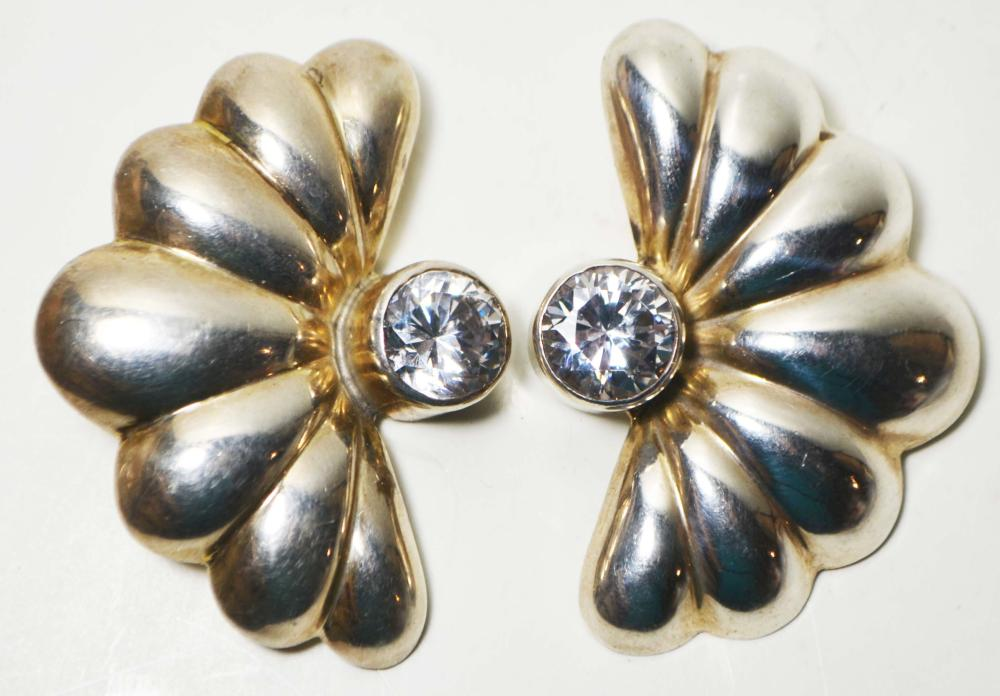 Vintage Sterling Silver and CZ Clip on Earrings