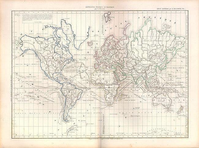 Atlas General de Geographie Physique, Politique et Historique Atlases Louis Etienne Dussieux 1860  A