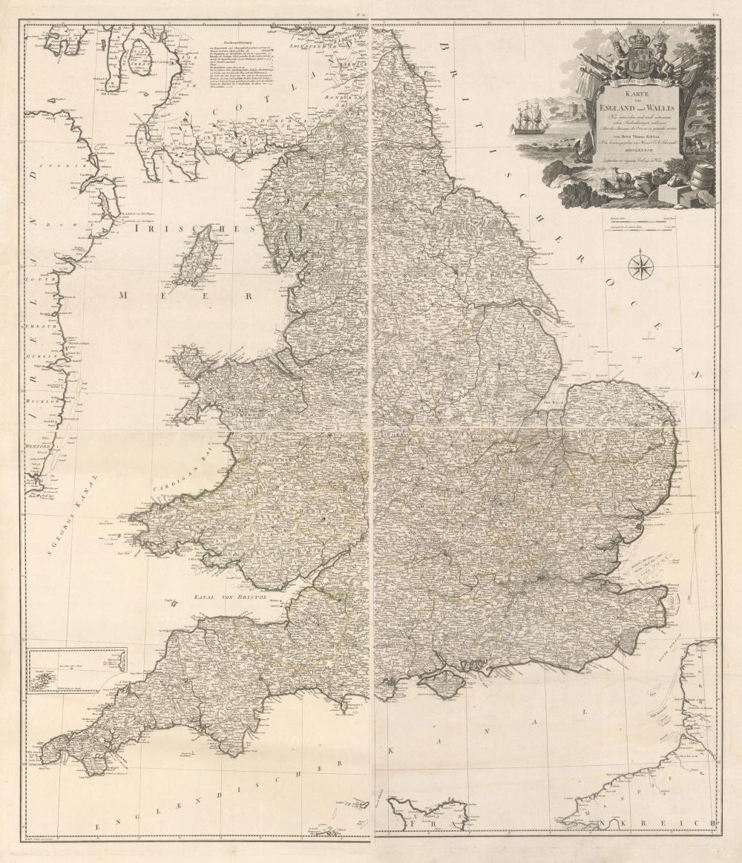 karte von wales england Map   England & Wales) [On 4 Sheets] Karte von England und Wallis