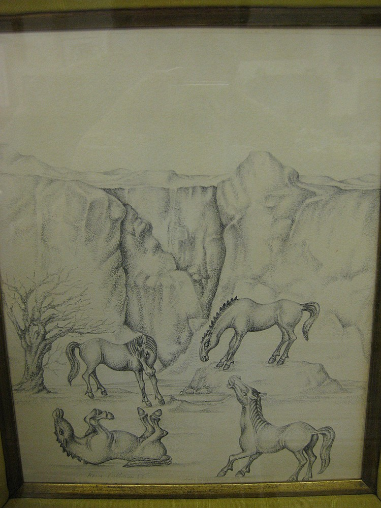 Anne Said, 'Playful Horses', signed, pencil study