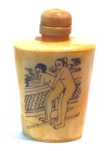 Erotic Chinese Hand Painted BONE Snuff Bottle