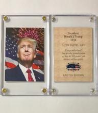 Rare DONALD TRUMP Limited Edition Pastel Art Card