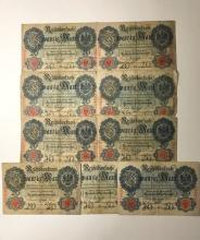 Lot of 9 - 1910 German Nazi Currency/Bank Notes