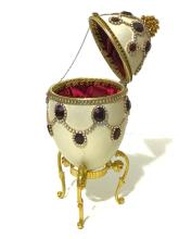 LG. Stunning Hand Decorated GOOSE EGG Music Box
