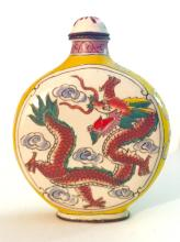 Chinese QING DYNASTY Enameled Dragon Snuff Bottle