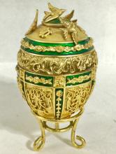 Signed Russian Jeweled and Enamel Music Box EGG