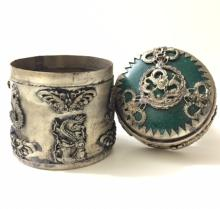 Old Chinese Hallmarked JADE Top/SILVER Snuff Box