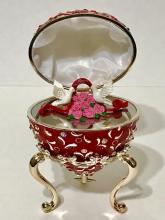 Gorgeous Enameled Love Birds Heart Music Box Egg