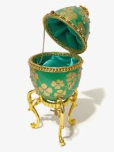 Stunning Hand Decorated GOOSE EGG Music Box